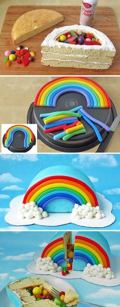 how to make rainbow pinata cake image