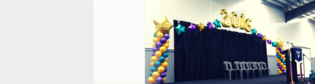 graduation balloon arch catering Melbourne