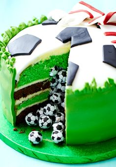 soccer themed boys birthday cake pinata cake image