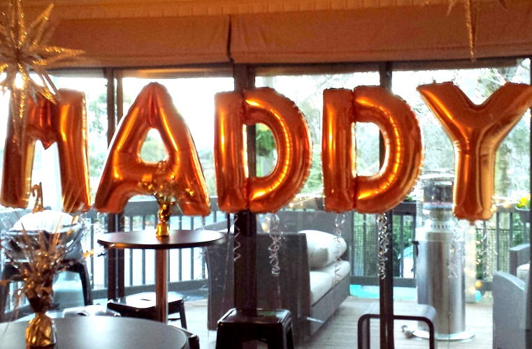 MADDY 18th 21st Birthday Giant megaloon gold letter balloons