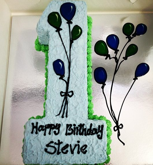 Number 1 Shaped handmade chocolate vanilla strawberry ice cream cake