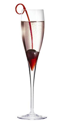 amazing champagne cocktail with a cherry twist