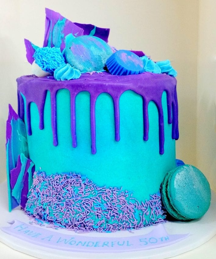 aqua-purple-chocolate-macaron-drip-cake birthday cake image