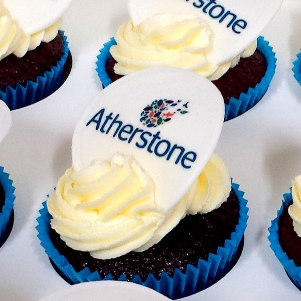 corporate catering Property launch logo cupcakes image