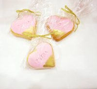 Designer Pink Embossed Name Heart Biscuit Gift Wrapped Bomboniere