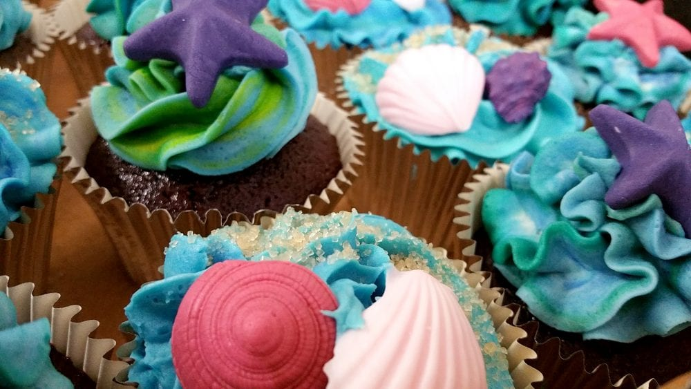 Seashells Birthday Cupcakes in Aqua Blue Purple Crimson