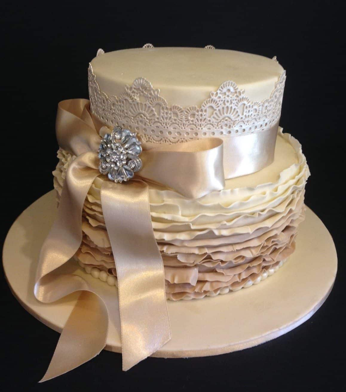ombre ruffles satin diamante wedding cakes party food melbourne image